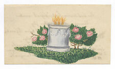 1845 FRAKTUR WATERCOLOR PAINTING FUNERAL URN & ROSES, LANCASTER, PA OR GERMANY