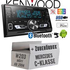 Kenwood Autoradio für Mercedes C-Klasse W203 MoPf 2-DIN/Bluetooth/USB Einbauset