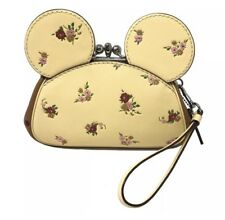 Disney X Coach Minnie Mouse Kisslock Ear Wristlet Vanilla Floral Leather F29360