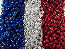 36 Red Silver Blue Mardi Gras Beads Patriots Texans Free Shipping Super bowl