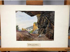 C. Schwager Aquarell antik 1893 Kalksteinhöhle Mödling Hinterbrühl Österreich