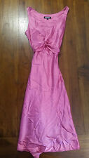 Morrissey Pink lined tie waist silk dress sz00 preowned free post D57