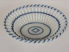 """Antique open basket weave bowl flow blue accents 19thc 9.25"""" leeds staffordshire"""