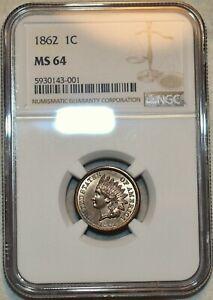 NGC MS-64 1862 Indian Head Cent, Razor-sharp, blazing specimen.
