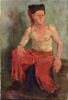 """Russischer Expressionist Öl Leinwand """"Kosak"""" 87x60 cm"""