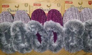 Dearfoams Womens Chenille Knit Memory Foam Clog Slippers, Size S & M, NWT!