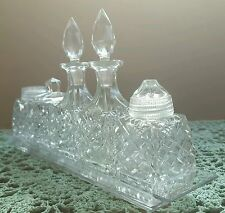 Vintage Crystal Condiment Cruet Set-Salt & Pepper, Oil & Vinegar, Mustard Jar