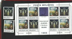 Moldova sc#111-12 @112a Souvenir Sheet (1993) Complete MNH