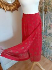 Vintage Silk Maxi Skirt Wrap Floral Red Gold  IMMACULATE Bohemian Boho 12 14