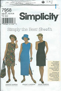 S 7958 sewing pattern Sheath DRESS Cutest HAT Tote BAG sew Trendy 12,14,16 UNCUT