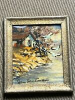 """Mini Jan Hartman """"Seaside Home Scene"""" Watercolor Painting - Signed And Framed"""