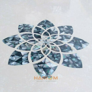 2' Composite Table Top Balck Mother of Pearl Mosaic Inlay Living Room Decor B256