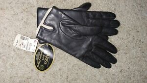 Vintage ARIS Leather Gloves Cashmere Lining NWT Size 7  Dark Gray