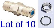 "Lot 10 F81 Barrels + Hex 3/8"" Nut Washer Rg6 3Ghz Ppc Female Coax Splice Catv Hd"
