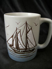 Mug cup Otagiri seaside sailboats water view calming scene coffee tea schooner