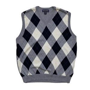 Mens M Brooks Brothers Grey Argyle V Neck Extra Fine Merino Wool Sweater Vest