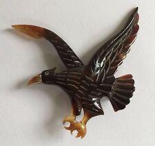 Vintage Carved Faux Tortoise Eagle or Hawk Pin w/ Gold Beak