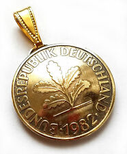 German Coin Pendant 10 Pfennig Oak Tree Vintage Germany Necklace Germany Jewelry