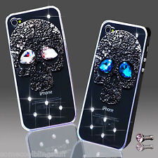 NEW BLING BLACK SKULL GOTH DIAMANTE CASE COVER IPHONE IPOD SAMSUNG SONY NOKIA 8