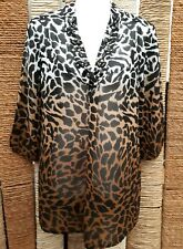 M&S COLLECTION Ladies Beaded Brown Mix Leopard Print Sheer Tunic Blouse Size 8