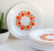9 Assiettes à dessert Arcopal vintage fleurs oranges