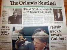 1998 newspaper TITANIC MOVIE sets record winning 11 Academy Awards JAMES CAMERON