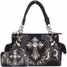 Western Style Rhinestone Cross Laser Cut Country Shoulder Bag Handbag Wallet Set