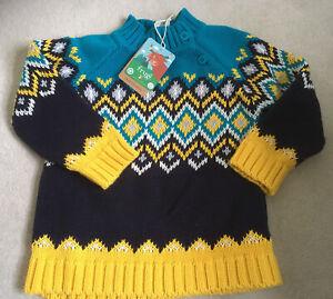 BNWT Frugi Boys Fairisle Jumper Knit 4-5 Years Organic Cotton