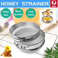 Honey Strainer Filter Stainless Steel Double Sieve Beekeeping Equipment Kit New