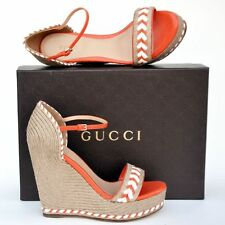 GUCCI New sz 39 - 9 Auth Platform Wedge Heels Womens Sandals Shoes Espadrille