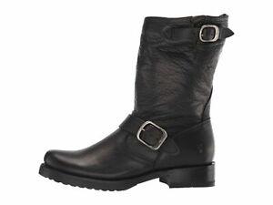NIB FRYE Women's Veronica Short Buckle Boot - Italian Leather - Black- SIZE 8