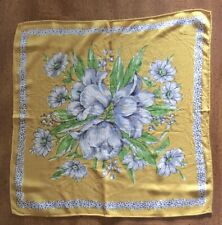 "Vintage 12"" Cotton Handkerchief w/Gray Flower Nosegay On Gold Background"
