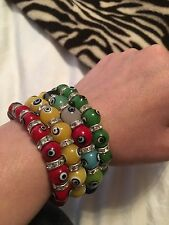 Lot Of 4 Multi Colored Evil Eye And Swarovski Crystal Stretch Bracelets