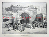 Tunisia TUNIS MEDIA BAB LE BAHR SEA GATE PORTE FRANCE ~ 1890 Art Print Engraving