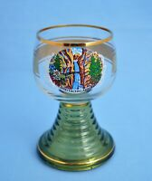 VINTAGE ROEMER GERMANY CLEAR GREEN WINE GLASS GOBLET WITH WATERFALL VIEW