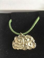 "Cluster Cloud TG260 Fine English Pewter On 18"" Green Cord Necklace"