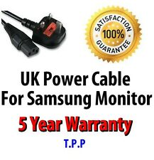 NEW UK Mains Power Lead Cable Cord Samsung Monitor LCD Screen Computer Display