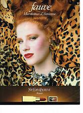 PUBLICITE ADVERTISING 044   1986  YVES SAINT LAURENT beauté rouge à lèvres Fauve