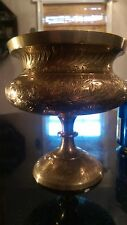 Antique Hand Tooled Solid Heavy Brass Sugar Bowl