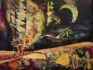 ATELIER CARETTE Large 1960's French Futurist CUBIST Nocturne Abstract Painting