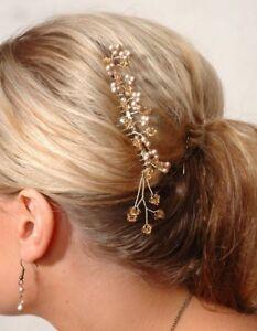 Lovely Swarovski crystal & pearl bridal wedding comb tiara coffee tones 8.5cm