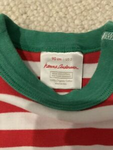 HANNA ANDERSSON Red White Striped Christmas STRIPED LONG JOHNS PAJAMAS  Sz 3