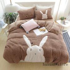 Thick Flannel Lovely Rabbit Cartoon Bedding Set Warm Fleece Duvet Cover Sheet