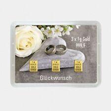 Barren Gold Hochzeit 3 g mit 3x 1 g Goldbarren in Geschenkverpackung 999,9