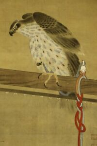 """JAPANESE HANGING SCROLL ART Painting """"Hawk"""" Asian antique  #E4571"""