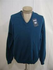 IZOD Men's 100% Cotton Rib Sweater XL Knit V-Neck Pullover Top Blue Long Sleeve