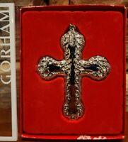 "GORHAM Buttercup Cross Christmas Ornament Silver Plate Red Ribbon 3"" NIB"