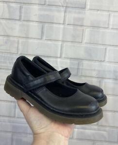 🍄 DR MARTENS 🍄 Black Girls Mary Jane Shoes Uk 11