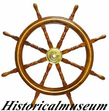 36 Inch Nautical Ship Wheel With Brass Ring Wooden Decorative