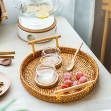Breakfast Display Rattan Tray Round Basket with Handle Storage Bread Snacks